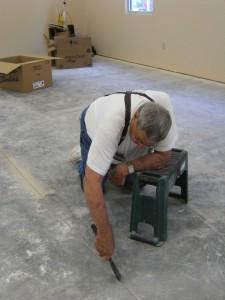 Preparing for new flooring First Presbyterian Church Huntsville Arkansas